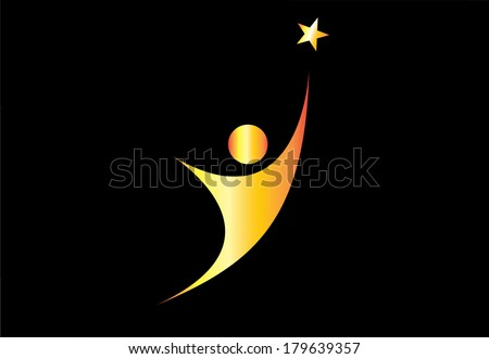 young gold person aiming for excellence achievement success star. youthful golden person aiming for the shining star & achieve ultimate greatness or dream goal or perfection in life - concept symbol