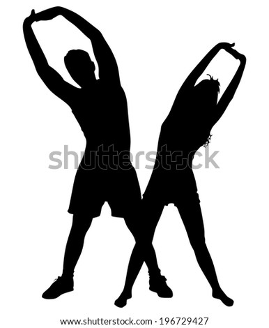 Young man exercising with girl, vector