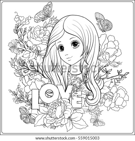Young Beautiful Girl Long Hair Roses Stock Vector 613845356