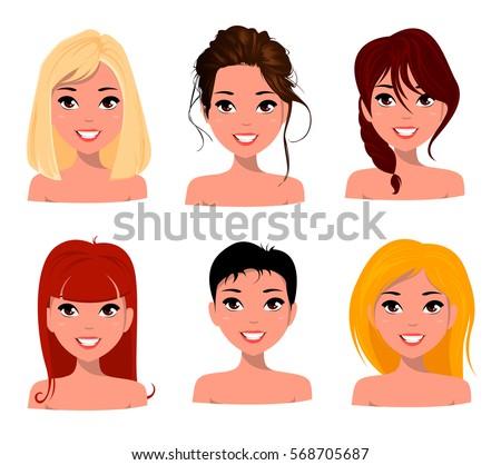 A Beautiful Cartoon Girl Face Woman Different...