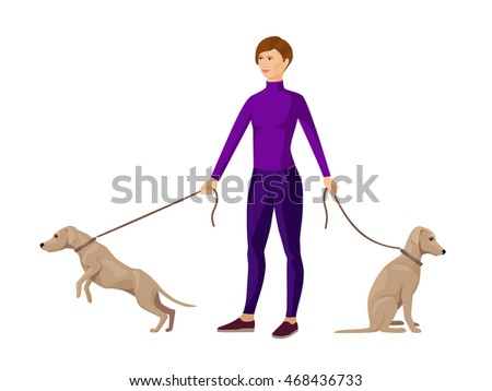 young slim girl keeping two dogs on leads