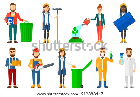 Young woman holding solar panel in hands. Woman carrying solar panel in hands. Worker of solar power plant. Green energy concept. Set of vector flat design illustrations isolated on white background.