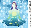 Young woman meditates on air bubbles in the water background vector illustration - stock