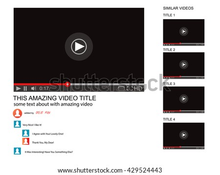 Youtube vector browser window video player stock vector 429524443 youtube vector browser window with video player web site mock up user comments pronofoot35fo Images