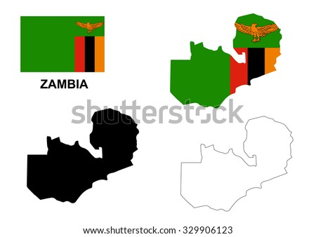 Zambia map vector, Zambia flag vector, Zambia isolated white background