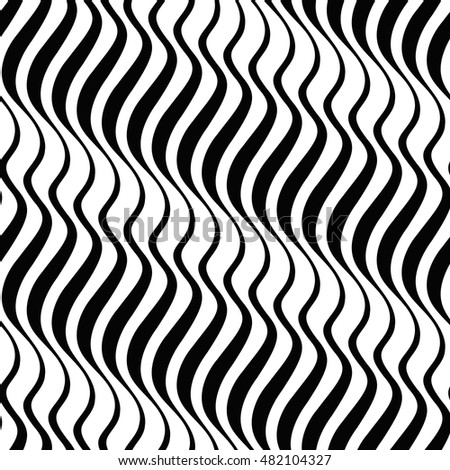 Zebra. Abstract wave striped pattern. Black and white mariner seamless vector background.
