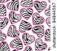 Zebra print hearts - seamless abstract background - stock vector