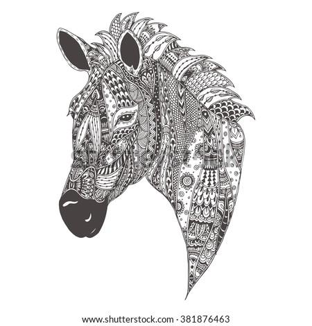 Handdrawn Goat Ethnic Floral Doodle Pattern Stock Vector 405982558
