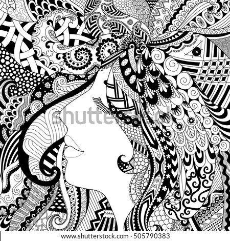 zendoodle design of girl sleeping with shadow effect for adult coloring book pages for anti stress