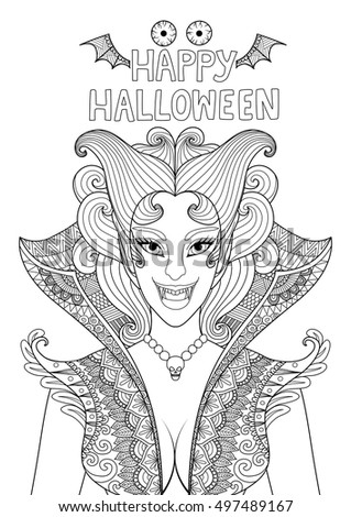 Zendoodle Design Of Vampire Girl With The Text Happy Halloween Bat Wings And