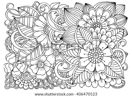 Coloring Book Artist Job : Vector coloring page floral pattern doodle stock 463740953