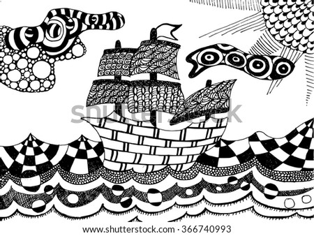 Zentangle ship - adult coloring page