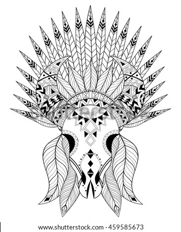 Native American Coloring Pages For Adults Owlu002639s Head On A White Background Element For