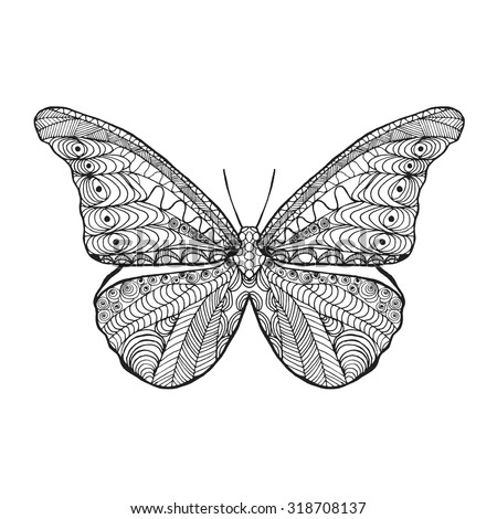 stock vector zentangle stylized butterfly black white hand drawn doodle animal ethnic patterned vector