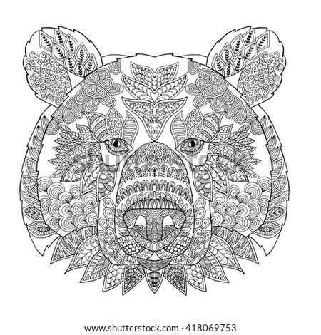 Zentangle Stylized Doodle Vector Of Bear Head Zen Art Ornament Drawing Illustration Isolated On