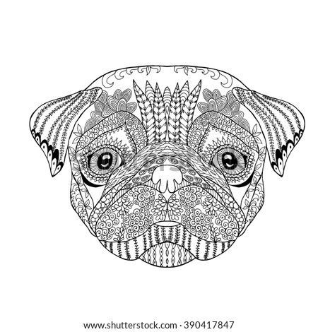 Wolf Head Zentangle Style Adult Antistress Stock Vector