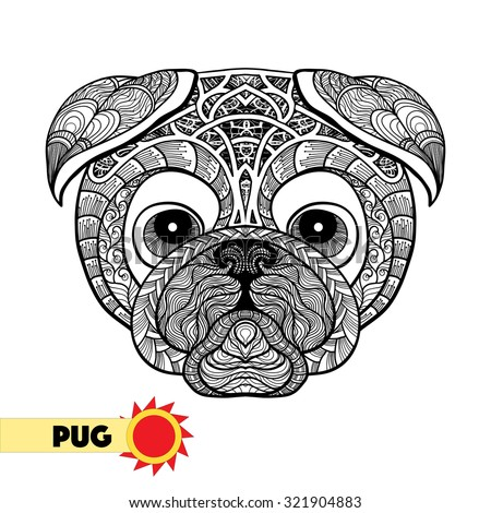 Zentangle Stylized Pub Head Hand Drawn Dog Doodle Vector Illustration Sketch For Tattoo Or