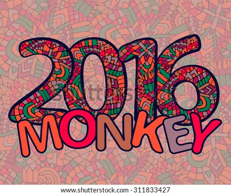 Zentangle 2016 year. Happy new year. Year of monkey. Vector illustration can be used for web design, trendy printed products, posters, calendars, invitations and greeting cards.