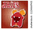 Zodiac sign Aries with cute colorful monster, vector - stock photo