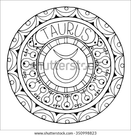Stock Vector Zodiac Sign Of Taurus And Constellation In Mandala With Ethnic Pattern Set Of Black And White Icon on origins of knowledge 4 elements fire water earth air