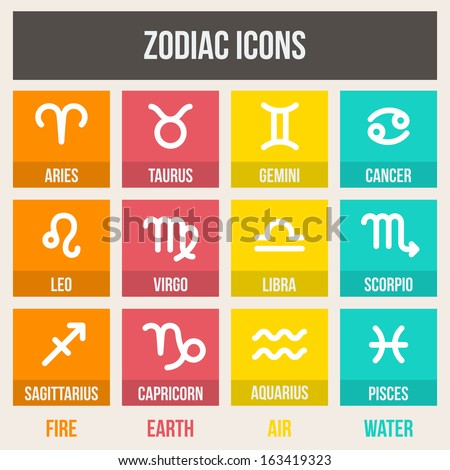 Zodiac signs with captions, in flat style. Set of colorful square icons.  Vector illustration.