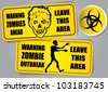 Zombie Outbreak Biohazard warning stickers / labels - stock vector
