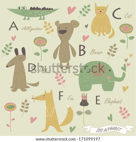 Cat dog elephant fox and flowers in cartoon style stock vector