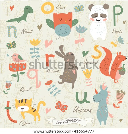 Zoo alphabet with cute animals in cartoon style. n, o, p, q, r, s, t, u  letters. Newt, owl, panda, quail, rabbit, squirrel, tiger, unicorn.