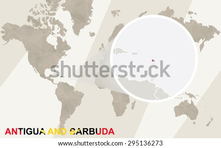 Zoom on Antigua and Barbuda Map and Flag. World Map.